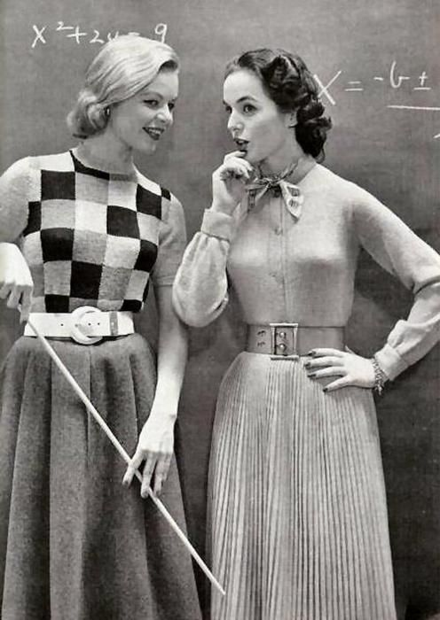 These charming 1950s skirt and sweater looks get top marks! :)   Love this classic look