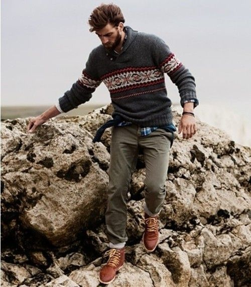 Choose a charcoal fair isle crew-neck sweater and olive chinos for a comfortable outfit that's also put together nicely. Dress it up with brown leather boots.  Shop this look for $230:  http://lookastic.com/men/looks/charcoal-crew-neck-sweater-and-olive-chinos-and-blue-longsleeve-shirt-and-brown-boots/164  — Charcoal Fair Isle Crew-neck Sweater  — Olive Chinos  — Blue Plaid Longsleeve Shirt  — Brown Leather Boots
