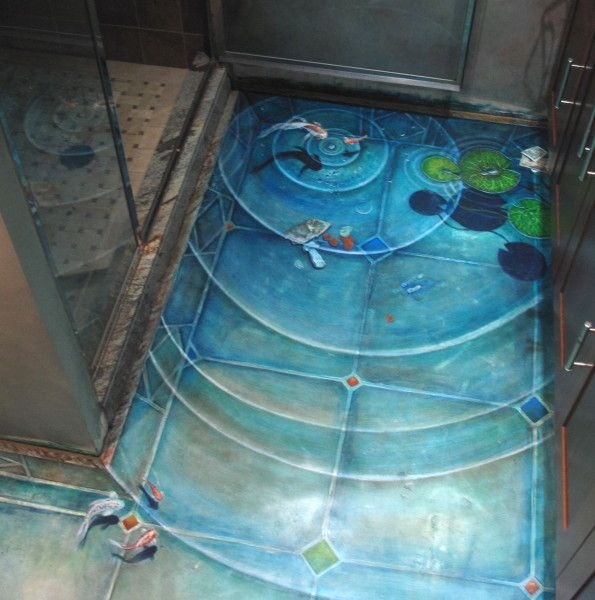 Stained concrete bathroom floor - amazing - like a swimming pool in your house! If you're looking for innovative ideas for decorating your bathroom, be sure to take a look at our website, www.bathroom-paint.net