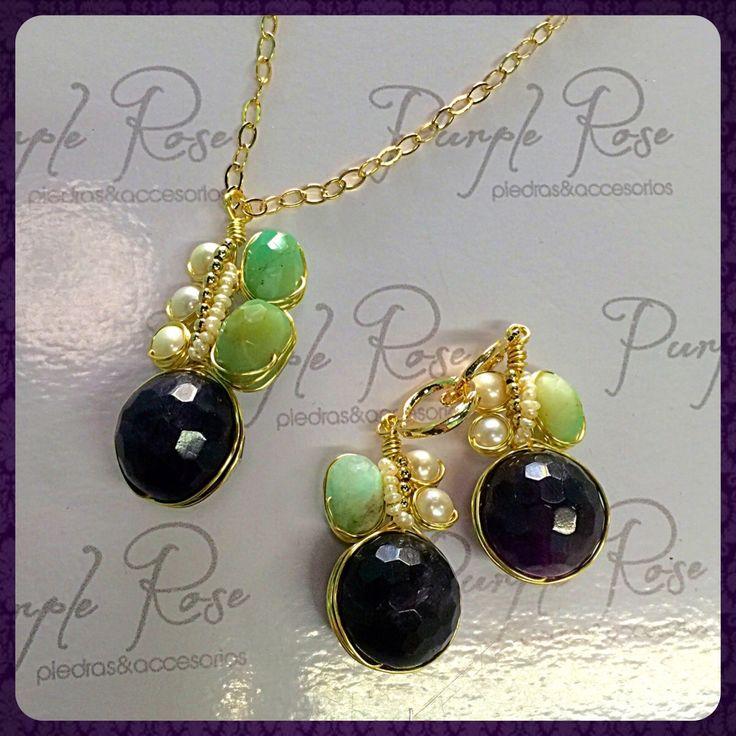Juego de collar y aretes alambrados de amatista con perla de rio y opalo peruano