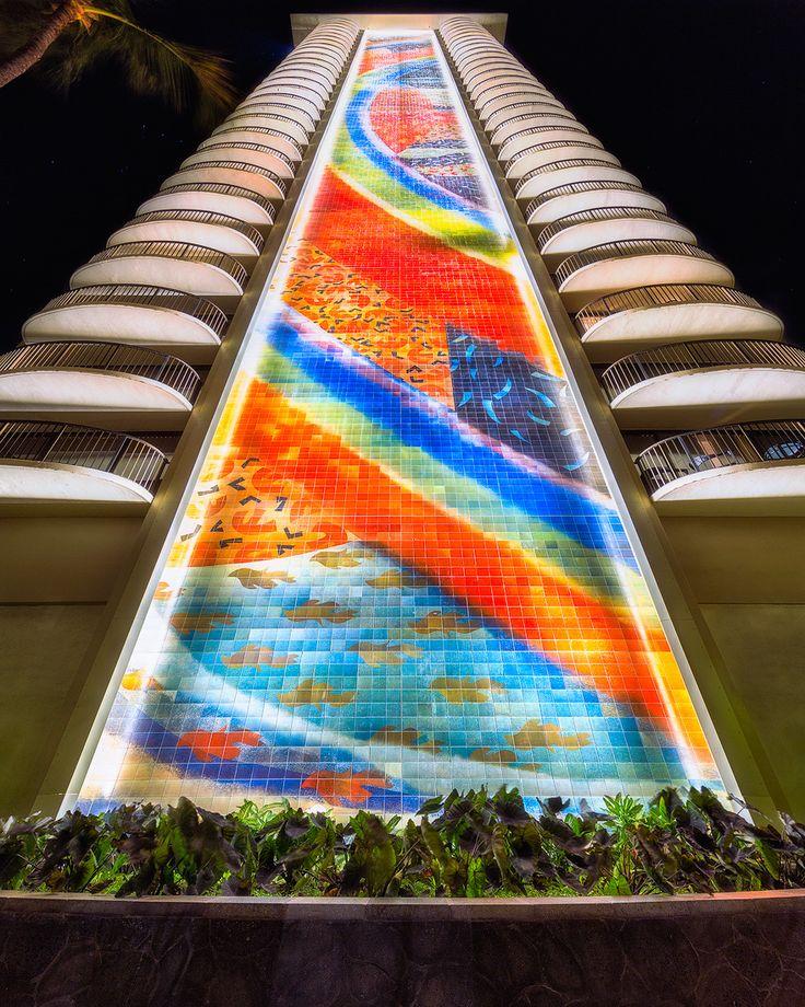 The newly renovated rainbow mural at the Hilton Hawaiian Village in Waikiki, Hawaii, USA