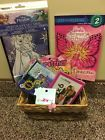 Disney Frozen & Barbie Gift Basket Earrings Coloring Set Puzzles Books Pict