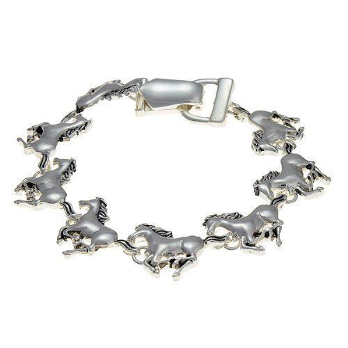 "Silvertone Horse Charm Magnetic Bracelet Fashion Jewelry PammyJ Bracelet. $15.99. GORGEOUS FOR GIFTS. COMES IN FOIL GIFT BOX. LEAD COMPLIANT. MAGNETIC CLOSURE -- BRACELET MEASURES 8"" IN LENGTH. HORSE THEME. Save 38%!"