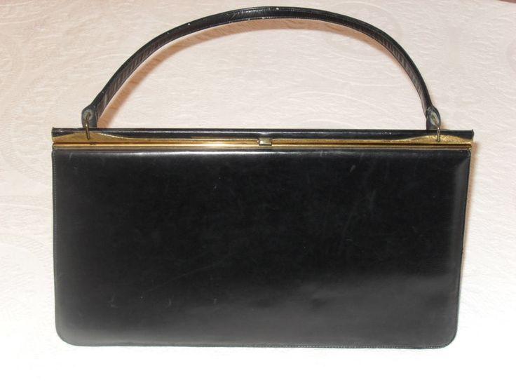 Vintage 50s Nicholas Reich Black Leather Handbag with original mirror by MimisMenagerie on Etsy