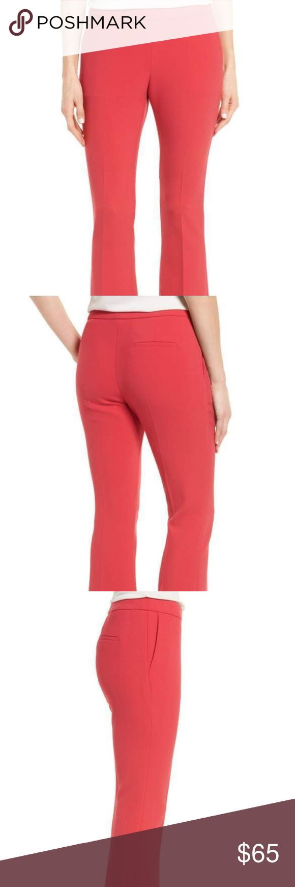 """BOSS-Tutina Ponte Flare,SIZE 8 US,$249 Ankle-length flared legs bring a kicky feel to sleek ponte-knit pants in a fresh, springy hue.  28"""" inseam; 17"""" leg opening; 10"""" front rise; 14"""" back rise (size 8)     Hidden side-zip closure     Front slant pockets; back welt pocket     63% polyester, 27% viscose, 7% cotton, 3% elastane     Machine wash warm, dry flat     Made in Turkey New with tags: A brand-new, unused, and unworn item (including handmade items) in the original packaging (such as the…"""