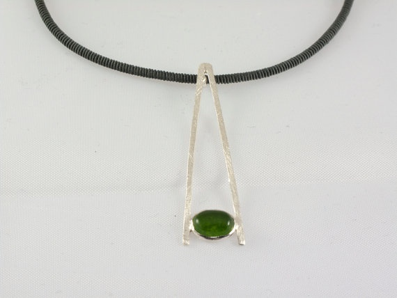 Sterling silver pendant with green jade cabochon by mardargent, €25.00