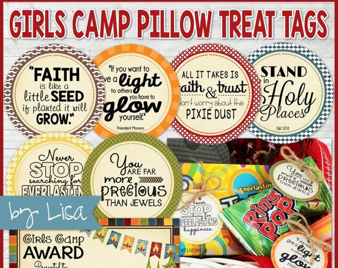 LDS YW Girls Camp Pillow Treats, YW Gift Tags, Gift Ideas, Girls Camp Handout + Girls Camp Award Certificate - Printable Instant Download