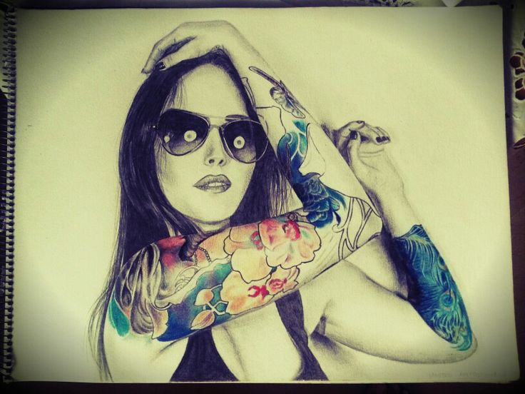 """""""Tattooed girl"""", graphite and color pencil on paper, 30x40 cm."""