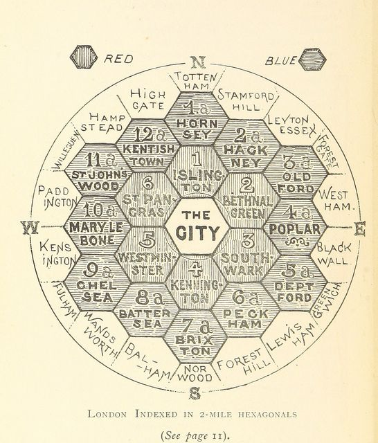 "Hexagonal #map of #London 1895, from ""The Unification of London: The Need and the Remedy"" written by John Leighton"