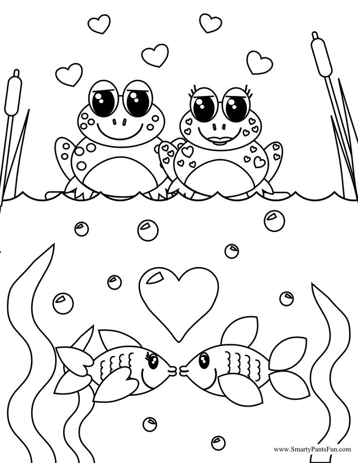 frog and fish couples valentine day coloring page - February Coloring Sheets
