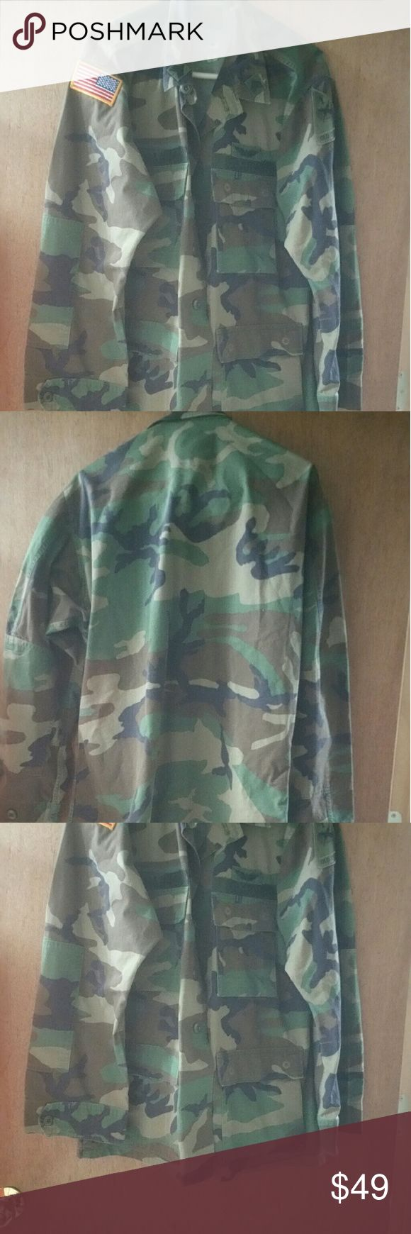 $ Drop! Camo Military jacket shirt L mens L mens TEMPORARILY REDUCED !  Great shape! Has patches american flag, old ironside, us army. Unisex, can wear it many ways with pride! :) Price firm No trades! Jackets & Coats Lightweight & Shirt Jackets
