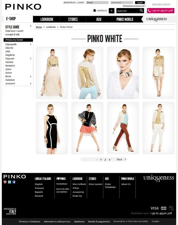 PINKO // Per Pinko dodicitrenta realizza un sito in linea con le esigenze della moda on-line: presentare i prodotti, esaltarne le caratteristiche e stimolarne l'acquisto.