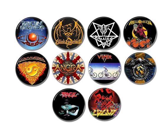 Power Metal band badges/buttons set of 10!  #heavymetalbuttons #heavymetalpatches #powermetal #helloween #gammaray #runningwild #angra