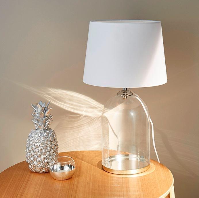 Lampe A Poser Colours Darby Verre Transparent Et Blanc Avec Images Deco Lumineuse Lamp Lampe A Poser