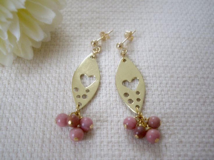 Heart in marquise gold earrings with pink stones, Rhodochrosite beads dangle, Valentine OOAK heart gift, For her, Clip ons, Free gift wrap - pinned by pin4etsy.com