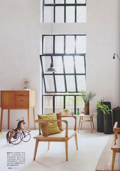 Love the furniture & white walls