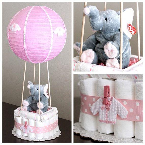 Pastel de pañal de globo de aire caliente por Dapperbabycakes                                                                                                                                                                                 More