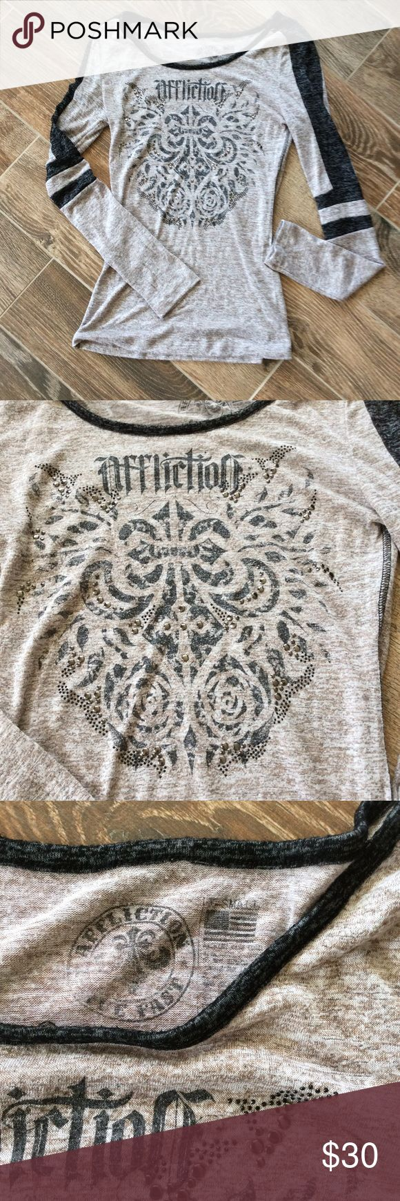 Affliction burn out long sleeve tee xs A heathered burn out Affliction long sleeve tee in size xs. Good condition with studs on the front. Brown and black. Feel free to ask any questions! Affliction Tops Tees - Long Sleeve
