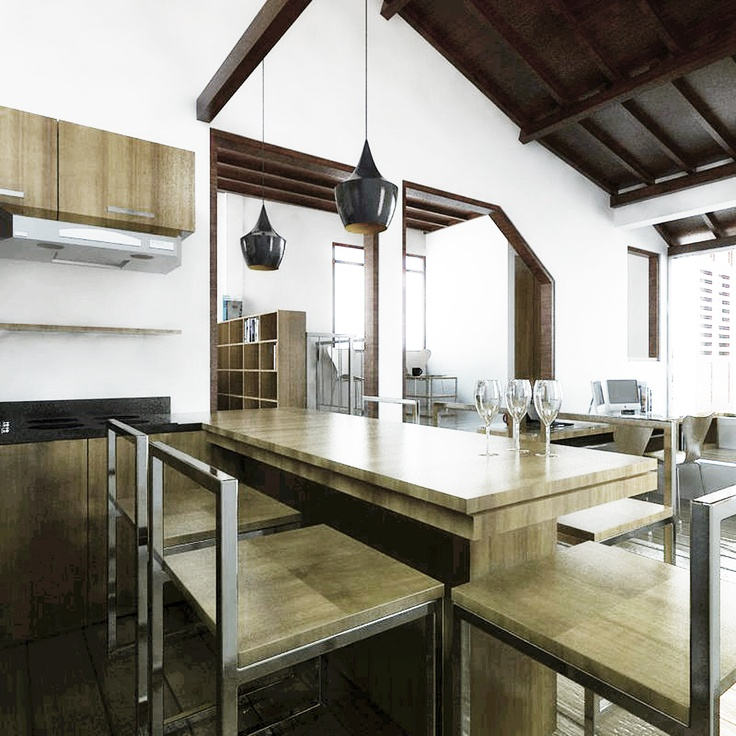 Interior project design minimalist. use wood and metal material to created minimalist experience space in small house.
