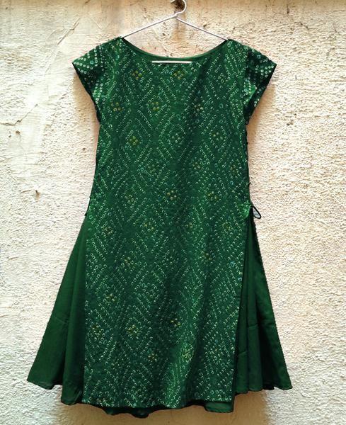 Handmade Bandhani Tiered Swing Dress in Green