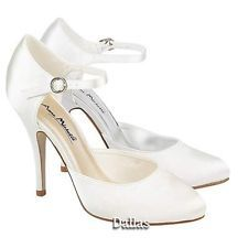 LADIES WEDDING SHOES WOMENS HEELS SATIN BRIDAL WHITE BRIDESMAID COURT SHOES SIZE