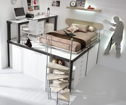 Lofted bedrooms by Tumidei | Unclutterer