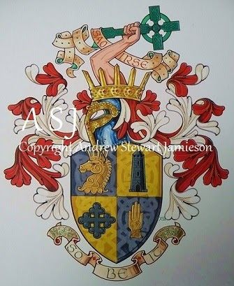 The Armorial Bearings of Dennis O'Meskel MacGoff this is original hand drawn and painted artwork created by British Artist and Designer Andrew Stewart Jamieson and is fully copyrighted.  No portion of this can be used to create another piece of artwork.  Do not copy, trace or digitally manipulate.  (heraldry, heraldic art, heraldic artists, coats of arms, fine art, The Jamieson Family)