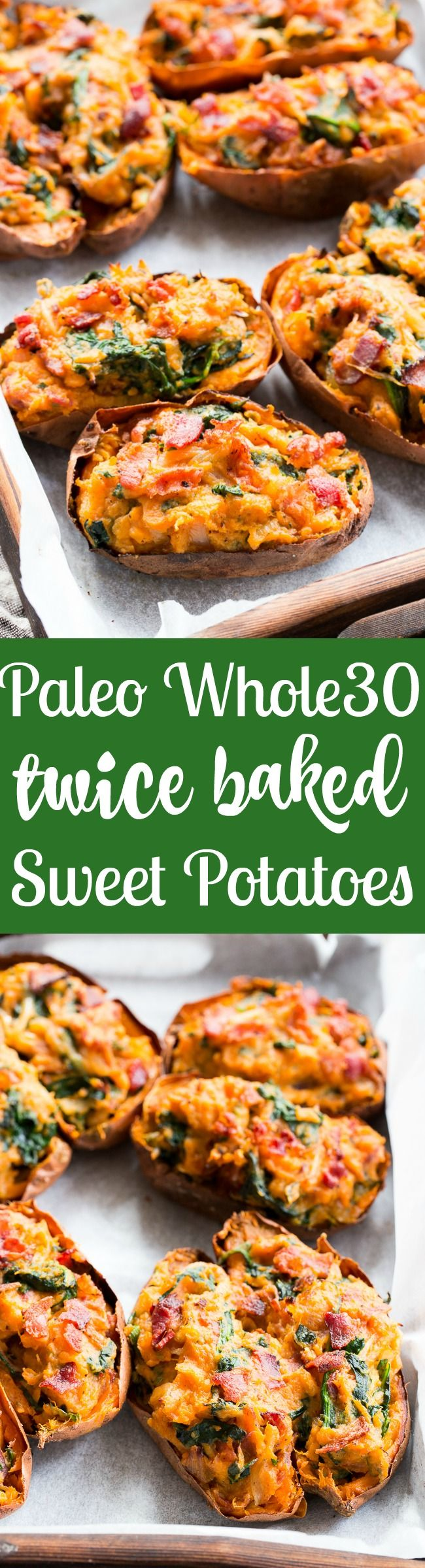 These twice baked sweet potatoes can be served as a healthy meal or side dish - your choice!  They're packed with a savory mixture of caramelized onions, spinach and bacon and baked to perfection.  They're family approved, Paleo, Whole30 compliant, and dairy-free.