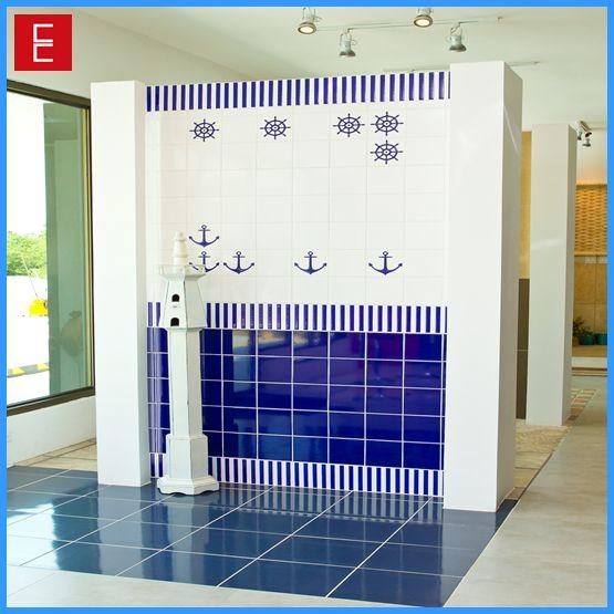 """La serie """"Navegantes"""" en azulejos de pared es ideal para revestir baños, cuartos de niños, o áreas de piscina."""