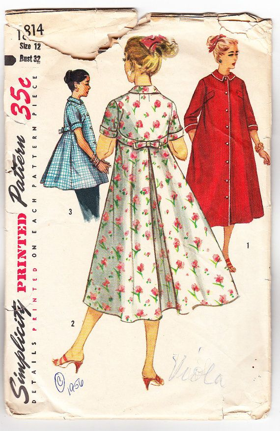 Vintage 1956 Simplicity 1814 Sewing Pattern Misses' HouseCoat, Robe and Smock Size 12 Bust 32