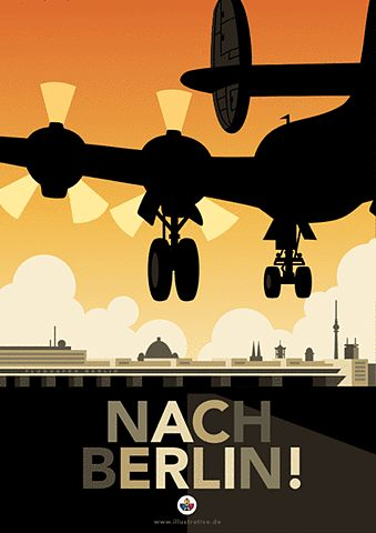 To Berlin! - Nach Berlin! Vintage travel poster