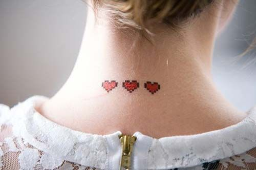 üç kalp dövmesi ense neck three heart tattoo