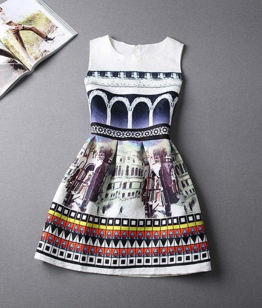 A-Line Printing Sleeveless Casual Dress $20.30