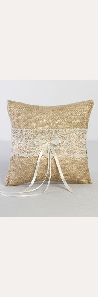 DB Exclusive Burlap and Lace Ring Bearer Pillow Style DB87RP
