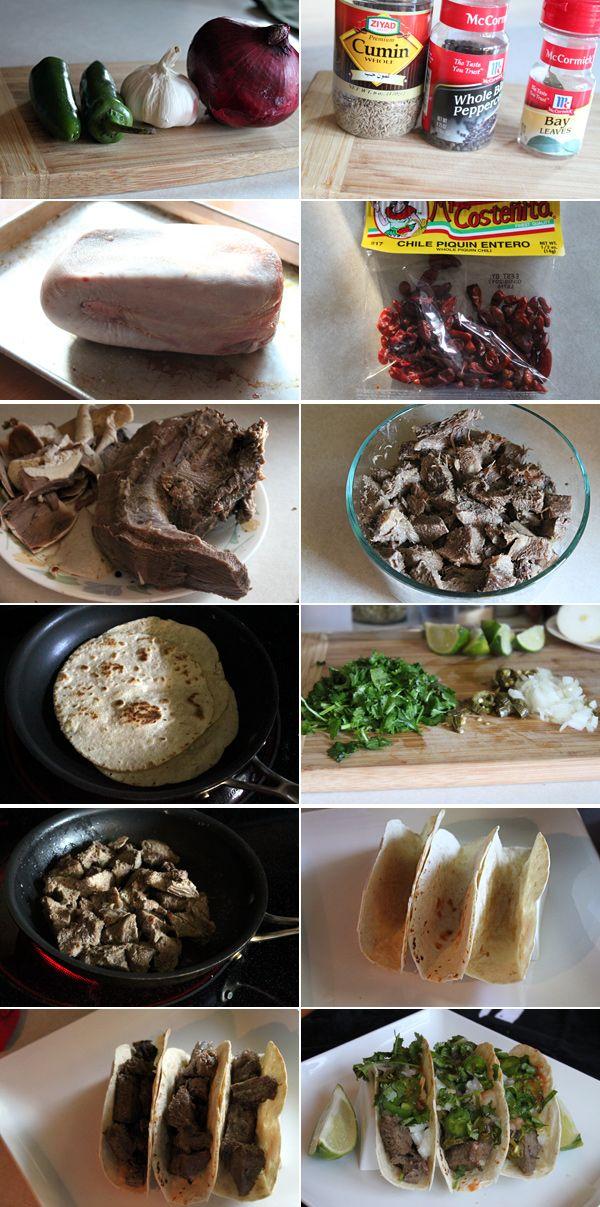 Mexican Beef Tongue Tacos recipe.