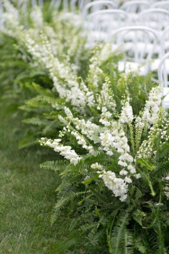 green fern wedding ceremony flowers / http://www.deerpearlflowers.com/greenery-fern-wedding-ideas/