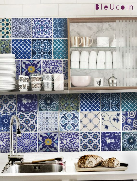Wall decal :  Indian Blue pottery tile decal- 22 DESIGNS- 2 SETS (44 TILES) on Etsy, $68.49