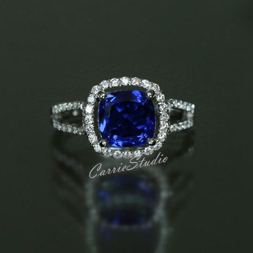 Sept. Birthstone Discount! 8mm Cusion Lab Sapphire Ring Sapphire Engagement Ring…