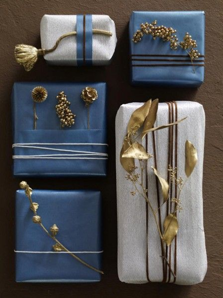 gilded dried flowers ... #giftwrap embellishment