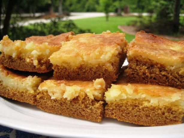Ooey Gooey Butter Cake from Food.com: Truly addictive dessert with the best flavor. My mother got the recipe about 20 years ago from another woman at a potluck picnic. She actually carried copies of the recipe with her because so many people always ask for it!