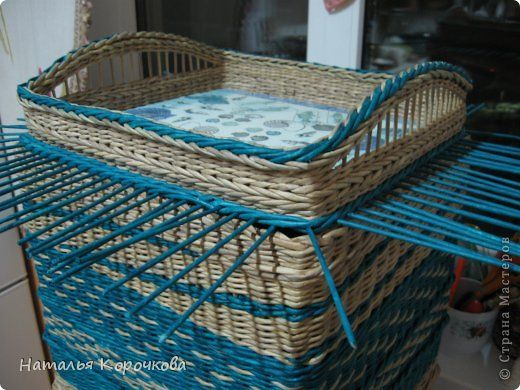 Поделка изделие День рождения Декупаж Плетение Очень практичная коробка Трубочки бумажные фото 3