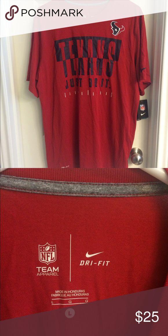 Men's NFL Texans NIKE Dry Fit shirt. Large. Men's Red NFL Texans NIKE dry fit short sleeve shirt. Size large. NWT. Shirts Tees - Short Sleeve