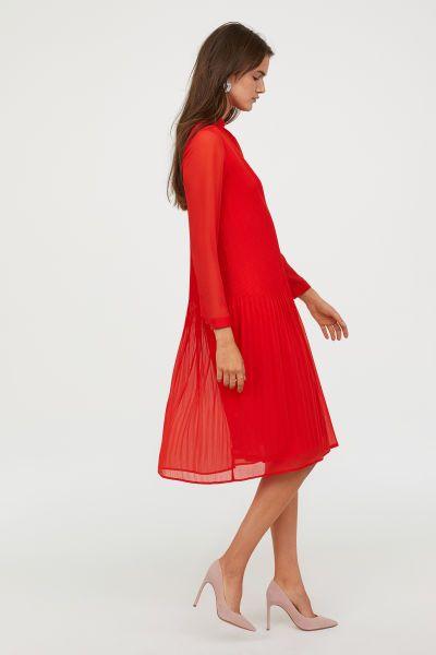 KleidKnallrot Damen Plissiertes amp;m Hamp; H M Dresses De rWdBEoxCeQ