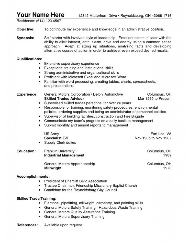 13 best resumes images on Pinterest Resume templates, Sample - facilities officer sample resume