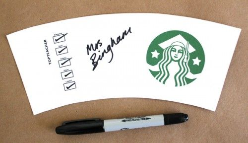printable for you to customize as an end of year Starbucks gift card* thank you for all the top teachers out there to show your appreciation. Put a gift card inside and you're done!