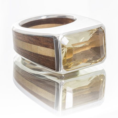 Handmade wood, citrine, and silver men's ring.  www.houseofauri.com/auri-afrik/handmade-wood-citrine-and-silver-men-s-ring.html