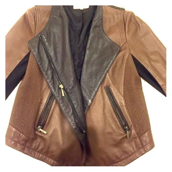 Laundry by Shelli Segal Two Tone Leather Jacket Laundry by Shelli Segal Brown Two Tone Leather Jacket.  Bought in 2012 and only worn once or twice.  Excellent condition and amazing 100% authentic leather! ☺️ Laundry by Shelli Segal Jackets & Coats