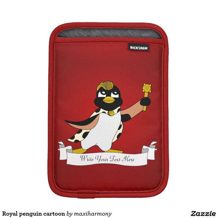 Royal penguin cartoon iPad mini sleeve