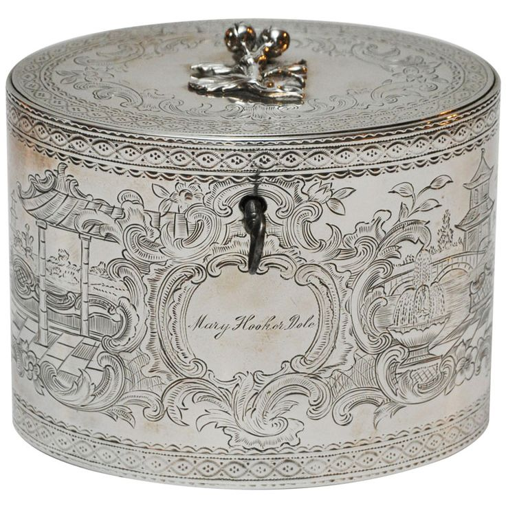 "George III Sterling Silver Tea Caddy,  England . Fine George III sterling silver tea caddy by William Vincent,  Engraved ""Mary Hooker Dole"". ca 1777"