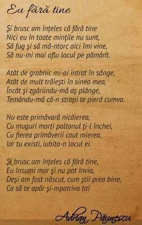 Eu fara tine de Adrian Paunescu
